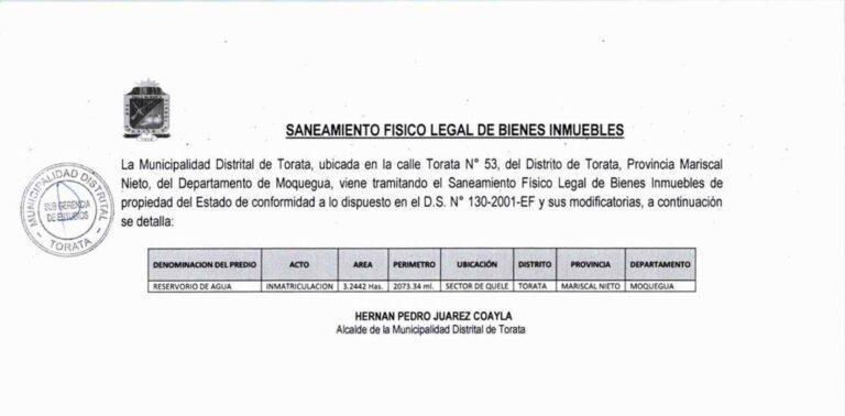AVISO DE SANEAMIENTO FISICO LEGAL DE BIEN INMUEBLE – SECTOR QUELE