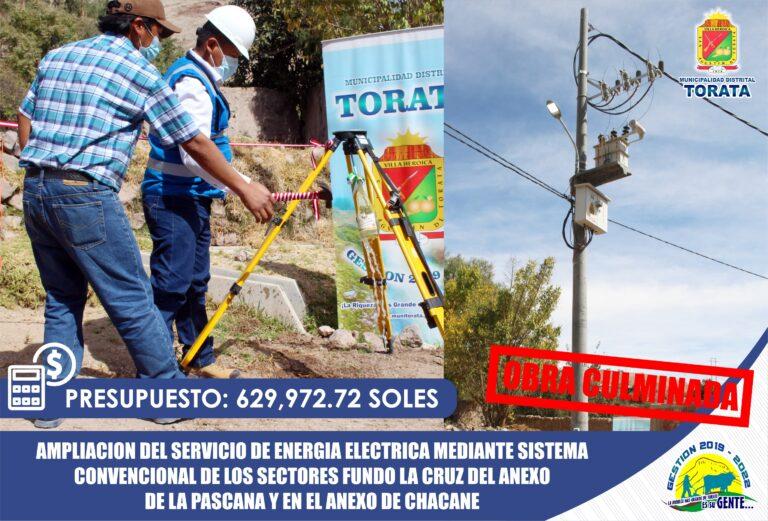 CERCA DE 100 VECINOS DE LA PASCANA Y CHACANE YA CUENTAN CON ENERGÍA ELÉCTRICA GRACIAS A LA MUNICIPALIDAD DE TORATA