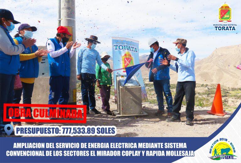 MUNICIPALIDAD DE TORATA ENTREGA OBRA DE ELECTRIFICACION A FAVOR DE VECINOS DE EL MIRADOR COPLAY Y RAPIDA MOLLESAJA