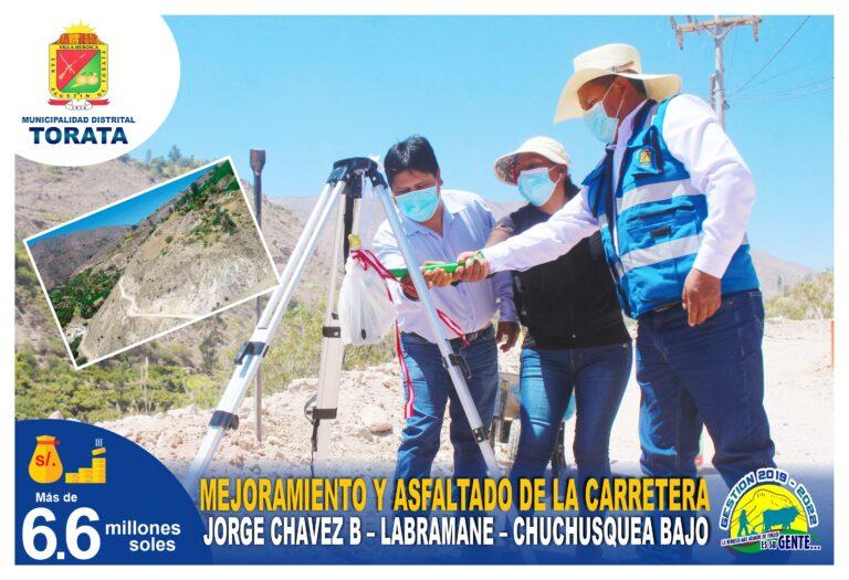 VECINOS DE JORGE CHAVEZ B, LABRAMANE Y CHUCHUSQUEA BAJA CONTARAN CON UNA CARRETERA ASFALTADA GRACIAS A LA MUNICIPALIDAD DE TORATA